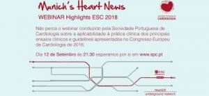 """Highlights ESC 2018"": decorre amanhã o webinar da SPC que discute as novidades do ESC Congress 2018"